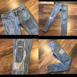 Free People Distressed Destroyed Skinny Jeans 25